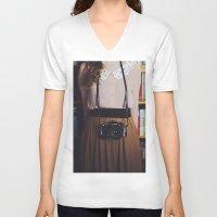 camera V-neck T-shirts featuring camera by Jazza Vock