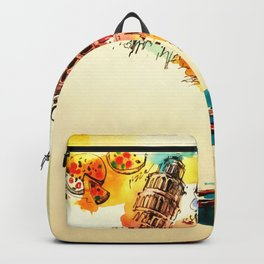 Vintage Italy Map City Travel Love Watercolor Backpack