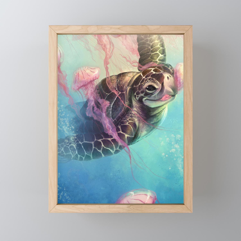 Sea Turtle And Jellyfish Framed Mini Art Print By Davidwentworthart Society6