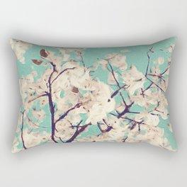 White Spring Blooms Rectangular Pillow