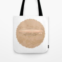 Airship in graphic style. Beige colors.  Tote Bag