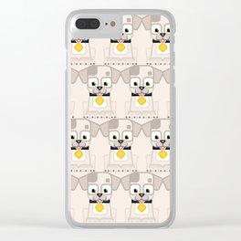 Super cute animals - Cute White Cream Puppy Dog Clear iPhone Case