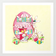 A Very Vintage Easter - Reimagined Vintage Easter Card Art Print