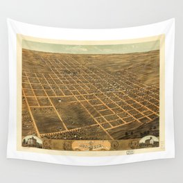 Bird's Eye View of Monmouth, Illinois (1869) Wall Tapestry