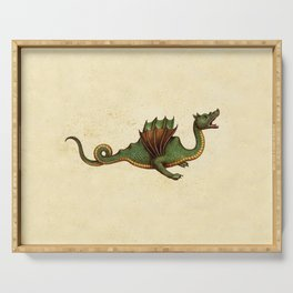 Medieval Green Dragon Serving Tray