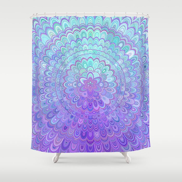 Mandala Flower In Light Blue And Purple Shower Curtain