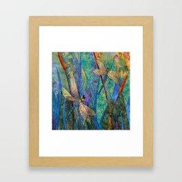 Colorful Dragonflies Framed Art Print