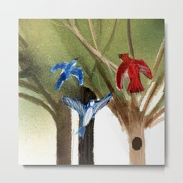 Blue Jays and Red Cardinal Metal Print