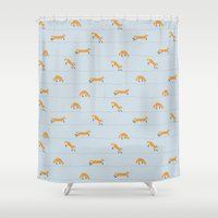 fox Shower Curtains featuring Fox by Landon Sheely