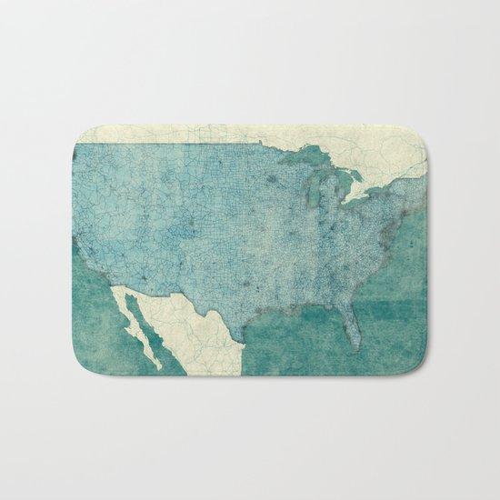 United States Of America Map Blue Vintage Bath Mat