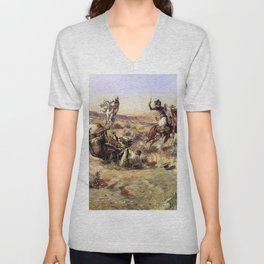 """""""The Broken Rope"""" by Charles M Russell Unisex V-Neck"""