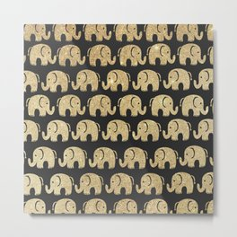 Sweet black and gold glitter cute elephant pattern Metal Print