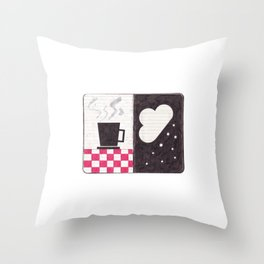 Coffee & Snow Throw Pillow