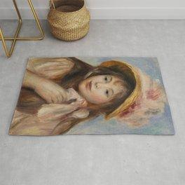 """Auguste Renoir """"Girl with Pink Bonnet (Jeune fille au chapeau rose)"""" Rug"""