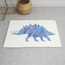 Light Blue Stegosaurus Watercolor Painting Rug