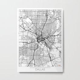 Dallas Map White Metal Print