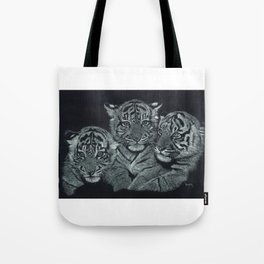 Tiger Kittens Scratchboard by Don Winsor Tote Bag