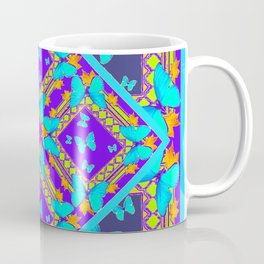 Western Style Purple Turquoise Butterflies Creamy Gold Patterns Coffee Mug
