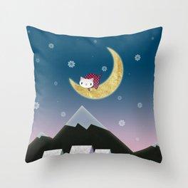 Moon Kitten Throw Pillow