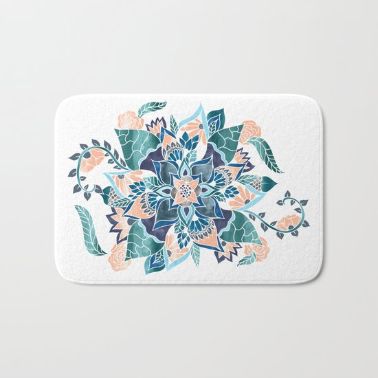 Modern coral blue watercolor floral illustration  Bath Mat