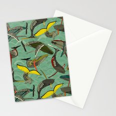 whales and waves jade Stationery Cards