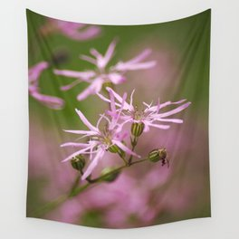 Pink Wildflowers Wall Tapestry