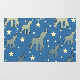 Blue Elephants Stars Pattern Rug