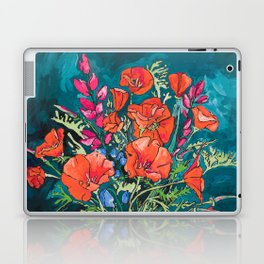 California Poppy and Wildflower Bouquet on Emerald with Tigers Still Life Painting Laptop & iPad Skin