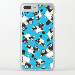 Cartoon Policeman and Police Car Pattern Clear iPhone Case