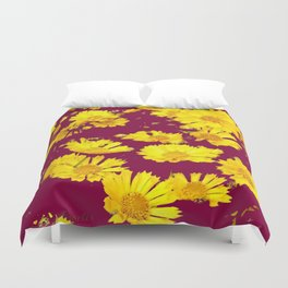 BURGUNDY-YELLOW  FLORAL COREOPSIS  PATTERN ART Duvet Cover