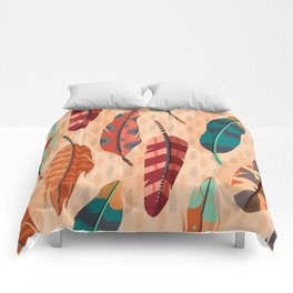 Native American, Colorful Feathers Comforters