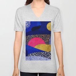Terrazzo galaxy blue night yellow gold pink Unisex V-Neck
