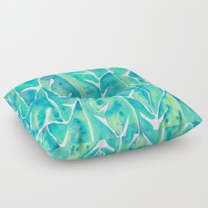 Split Leaf Philodendron – Turquoise Floor Pillow