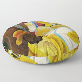 African American Masterpiece 'Jazz Band at the Apollo' portrait painting Floor Pillow