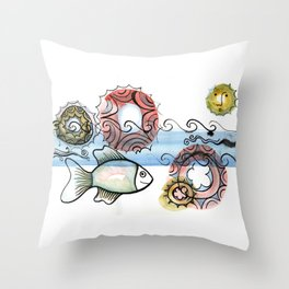 Life on the Earth - The Ocean Throw Pillow