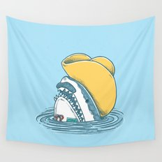 Funny Hat Shark Wall Tapestry