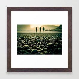 Black Pebble Beach Sunset Framed Art Print