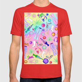 Psychedelic 70s Groovy Collage Pattern T-shirt