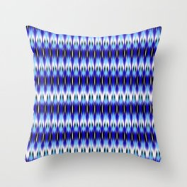 ikat small scale row in blues Throw Pillow