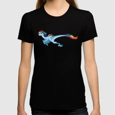Raptor Rainbow Dash Womens Fitted Tee Black SMALL