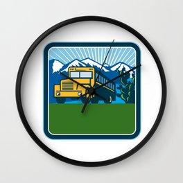 School Bus Cactus Mountains Square Retro Wall Clock