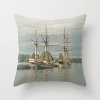 ships Throw Pillows featuring Tall Ships by Vicki Dvorak