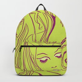 Psychedelic Lady Dream In Green Backpack