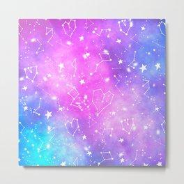 White constellation universe pattern zodiac on purple blue nebula space watercolor Metal Print