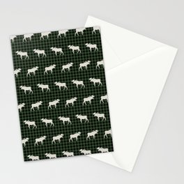 Moose northwest camping cabin chalet pattern plaid hunter green Stationery Cards
