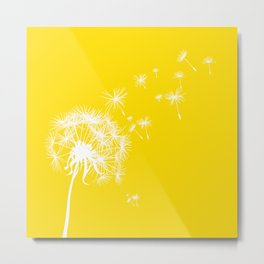 Lemon Yellow and White Dandelion Blowing in the Wind Metal Print