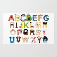 muppet Area & Throw Rugs featuring Muppet Alphabet by Mike Boon