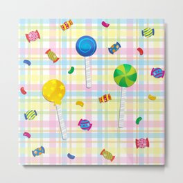 Candy Plaid Metal Print