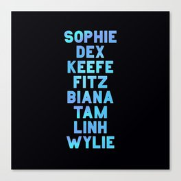 KEEPER Main Character Names Canvas Print