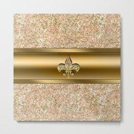 Pink & Gold Glitter Fleur De Lis Metal Print